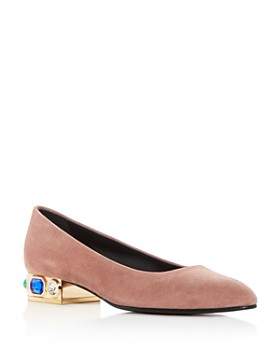 Casadei - Women's Bisan Suede Embellished Pointed Toe Flats
