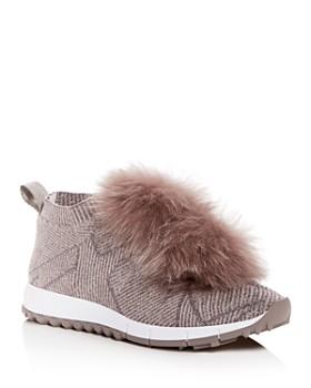 baad72c1139 Jimmy Choo - Women s Norway Fox Fur Pom-Pom Slip-On Sneakers ...
