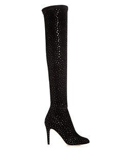 Jimmy Choo - Women's Toni 90 Scattered Crystal Suede Over-the-Knee Boots
