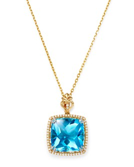 "Bloomingdale's - Swiss Blue Topaz & Diamond Square Pendant Necklace in 14K Gold, 18"" - 100% Exclusive"
