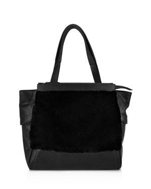 KOOBA Yukon Medium Leather Tote in Black/Silver