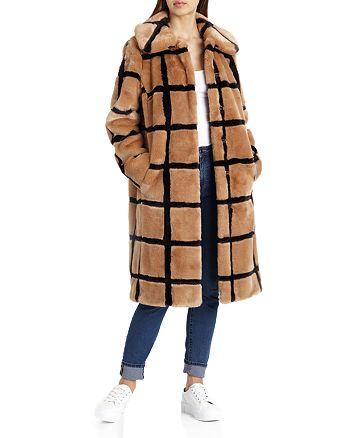Avec Les Filles - Windowpane Faux Fur Coat