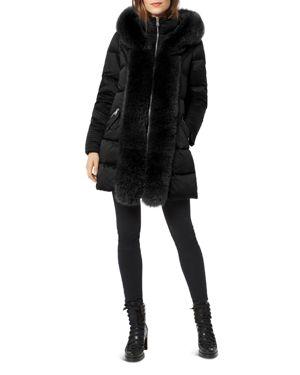 ONE MADISON Fox Fur Placket Puffer Coat in Black