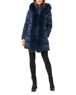 ONE MADISON Fox Fur Placket Puffer Coat in Navy