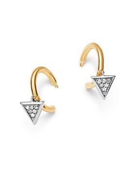 Adina Reyter - 14K Yellow Gold & Sterling Silver Pavé Diamond Tiny Triangle Charm Huggie Hoop Earrings