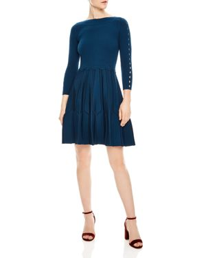 Fit-And-Flare Knitted Dress, Petrol Blue