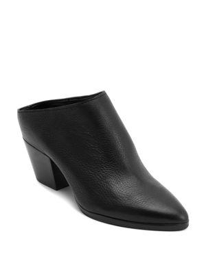 DOLCE VITA Women'S Roya Almond Toe Leather Mid-Heel Mules in Black