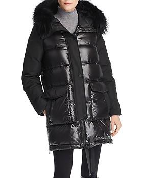 Derek Lam 10 Crosby - Fur Trim Mixed Media Coat
