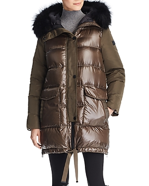 Derek Lam 10 Crosby Fur Trim Mixed Media Coat