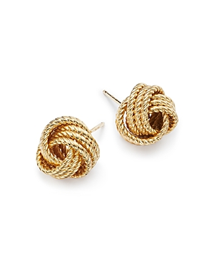 14K Yellow Gold Twisted Love Knot Earrings