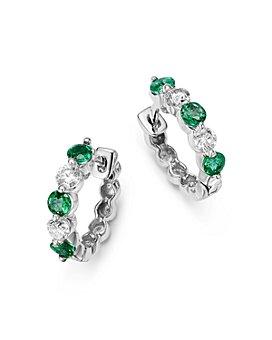 Bloomingdale's - Emerald and Diamond Huggie Hoop Earrings in 14K White Gold, .20 ct. t.w.- 100% Exclusive