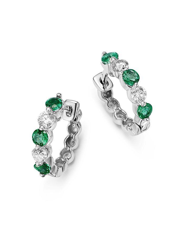 72e2512b3be398 Bloomingdale's - Emerald and Diamond Huggie Hoop Earrings in 14K White Gold,  .20 ct