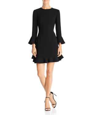 Flounced Crepe Dress in Black