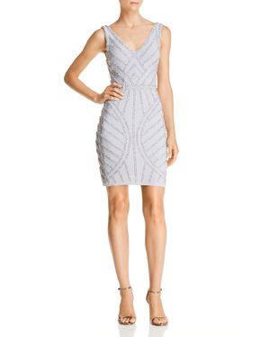 AVERY G Beaded Cocktail Dress in Silver