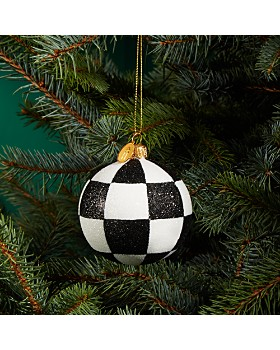 Landmark Creations - Checkered Glitter Glass Ball Ornament - 100% Exclusive