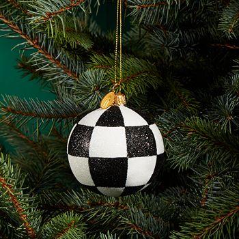Landmark Creations - Checkered Glitter Glass Ball Ornament - 100% Exclusive