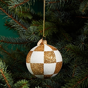 Landmark Creations Checkered Glitter Glass Ball Ornament - 100% Exclusive