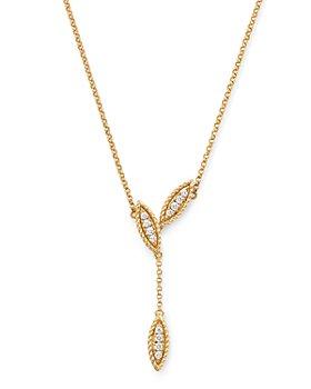 "Roberto Coin - 18K Yellow Gold Diamond Petals Diamond Drop Pendant Necklace, 16"" - 100% Exclusive"