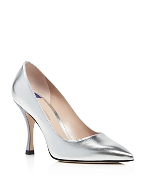 6fc43c36d2 Stuart Weitzman Women'S Tippi 95 Pointed Toe Leather High-Heel Pumps In  Silver Venice
