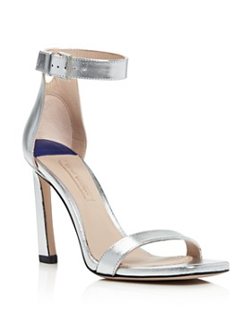 Stuart Weitzman - Women's Square Nudist Metallic Leather High-Heel Sandals