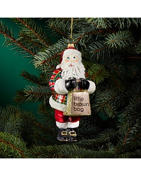 Joy to the World - Bloomingdale's Tartan Santa Glass Ornament - 100% Exclusive