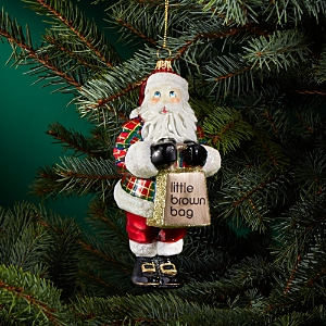 Joy to the World Bloomingdale's Tartan Santa Glass Ornament - 100% Exclusive