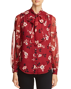 kate spade new york Camelia Silk Tie-Neck Top