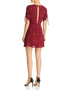 En Créme - Ruched Drawstring Embroidered Dress