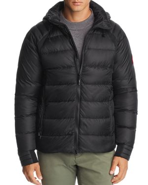 Men'S Hybridge Hooded Down Puffer Base Jacket in Black