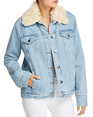 Frame Le Curly Faux Fur-Lined Denim Jacket