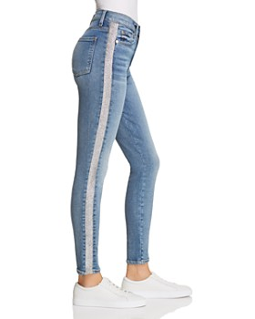 7 For All Mankind - Shimmer Stripe High Waist Ankle Skinny Jeans in Luxe  Vintage Muse ... 38a60858924