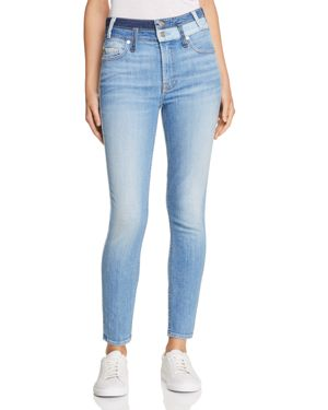 High Waist Ankle Skinny Jeans In Patchwork Found 9 in Blue Pattern