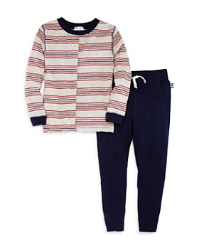 Splendid - Boys' Contrast Striped Tee & Terry Jogger Pants Set - Little Kid