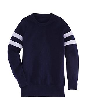 Aqua Girls Athletic Stripe Cashmere Sweater Big Kid  100 Exclusive