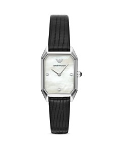 Emporio Armani - Mother-of-Pearl Dial & Leather Strap Watch, 24mm x 36mm