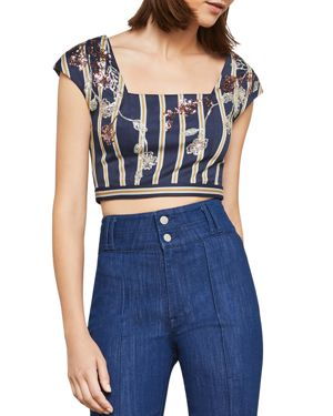 BCBGMAXAZRIA STRIPED SEQUINED CROPPED TOP