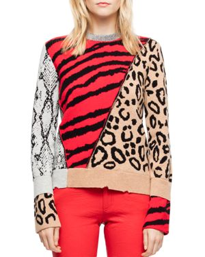 ZADIG&VOLTAIRE Delly Animal-Print Wool-Cashmere Pullover Sweater in Multi Pattern