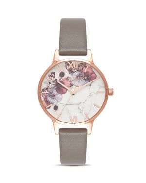 Olivia Burton Marbled Floral-Pattern Leather Strap Watch, 30mm
