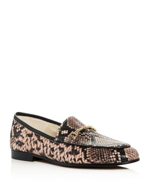 WOMEN'S LORAINE SNAKE-EMBOSSED LEATHER APRON TOE LOAFERS