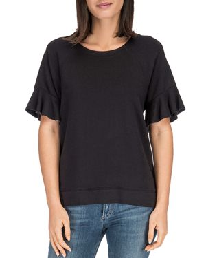 B COLLECTION BY BOBEAU Bobeau Martha Ruffle Sleeve Sweatshirt in Black