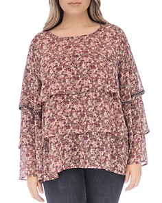 B Collection by Bobeau Curvy - Sabine Floral Tiered Top