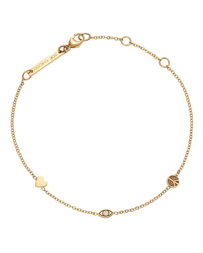 Zoë Chicco - 14K Yellow Gold Itty Bitty Heart, Peace Sign & Evil Eye Diamond Adjustable Bracelet
