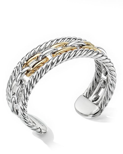 David Yurman - Wellesley Link Multi Stack Bracelet in Sterling Silver with 18K Yellow Gold