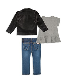 Hudson - Girls' Velvet Moto Jacket, Ruffled Tee & Jeans Set - Little Kid