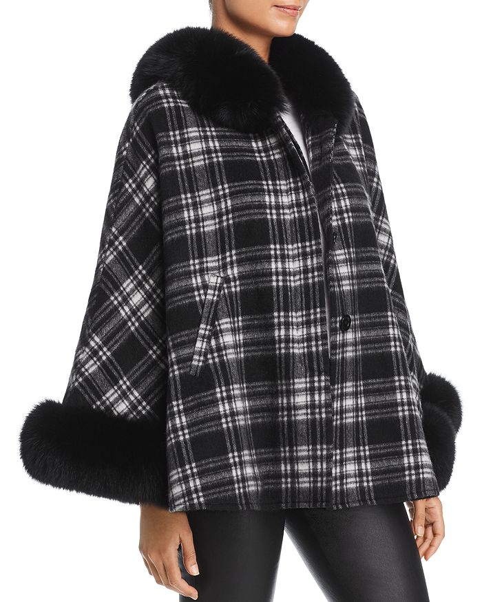 Maximilian Furs - Fox Fur Trim Cashmere Cape - 100% Exclusive