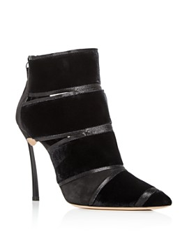 Casadei - Women's Yoko Velvet & Suede High-Heel Booties