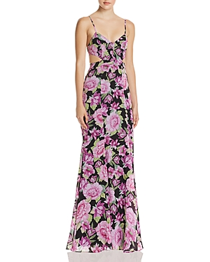 Fame and Partners The Sienne Floral Cutout Georgette Maxi Dress