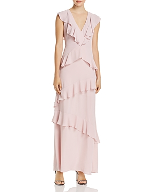 Bcbgmaxazria Tiered Ruffle V-Neck Maxi Dress