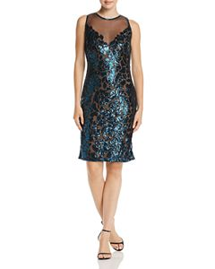 65b663a1b288 Tadashi Petites Sequined Crossover Blouson Dress   Bloomingdale's