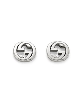 Gucci - Sterling Silver Interlocking Stud Earrings
